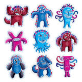Set of vector cool cartoon monsters, colorful weird creatures. C Stock Photo