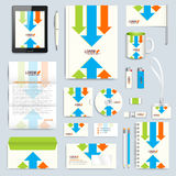 Set of vector corporate identity template. Modern branding stationery mock-up. Background with colorful arrows. Business. Science, medicine or technology Stock Photography