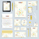 Set of vector corporate identity template. Modern branding stationery mock-up.  Colorful molecule and communication Stock Photos