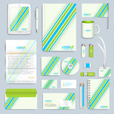 Set of vector corporate identity template. Modern business stationery mock-up. Branding design with blue and green lines Stock Photos