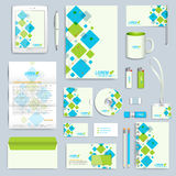 Set of vector corporate identity template. Modern business stationery mock-up. Branding design with blue and green. Square shapes stock illustration