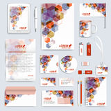 Set of vector corporate identity template. Modern business stationery mock-up. Branding design with square shapes Royalty Free Stock Images