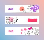 Set of vector cosmetics banners, horizontal headers. Hand drawn creams, perfume, brushes, strokes Royalty Free Stock Photo