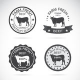 Set of vector an cow label Stock Images