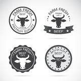 Set of vector an cow label Stock Image