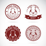 Set of vector cow labels Royalty Free Stock Photography