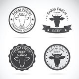 Set of vector cow labels on white background. Farm. Royalty Free Stock Images