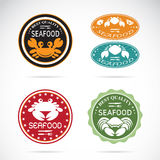 Set of vector an crab seafood label. On white background Stock Image