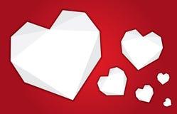 Set vector craft white paper folded heart on red background. stock illustration