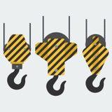 Set of vector crane hooks stock illustration