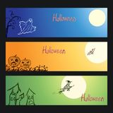 Set of vector crayon drawn happy halloween day background banner with hand drawing spooky naked trees, moon, old house, witch, gho. Chalk pastel or pencil design Royalty Free Stock Images
