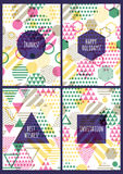 Set of vector creative cards with seamless geometric pattern. Stock Photography