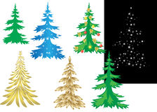 Set of vector creative christmas trees Stock Photo
