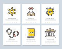 Set of vector crime, law, police and justice colored elements for multipurpose a4 presentation template. Leaflet. Vector banners and pattern, background design Stock Image