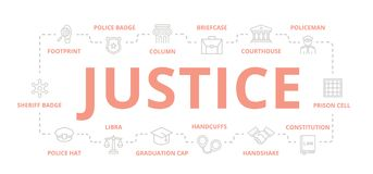 Set of vector crime, law, police and justice thin line banner for design concept. Illustration for presentations on. Vector banners and pattern, background Royalty Free Stock Photos