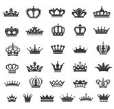 Set of vector crown icons. Design elements. Vintage style royalty free illustration