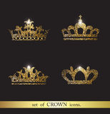 Set of vector crown icons. Set of vector gold crown icons Royalty Free Stock Photos