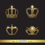 Set of vector crown icons. Set of vector gold crown icons Stock Image