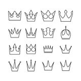 Set of 16 vector crowns icons for your design in mono line style.  Stock Images