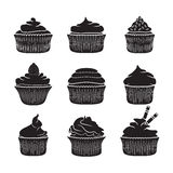 Set of vector cupcakes.  Stock Images