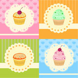 Set of vector cupcakes with lace Royalty Free Stock Photography