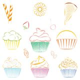 Set of vector cupcakes and sweets. Outline. Vector collection of line drawing of cupcakes, candies and berries. Outline of sweets, cookies and berries. Great for Royalty Free Stock Photography