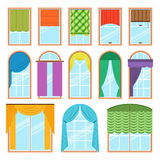 Set of vector curtains different forms in flat style. Waving hanging curtains for the window decoration. Interior home Royalty Free Stock Photography