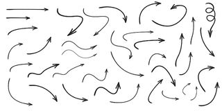 Set of vector curved arrows hand drawn. Sketch doodle style. Collection of pointers vector illustration