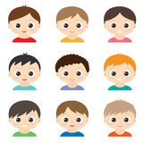 Set of vector cute boys Royalty Free Stock Photo