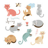 Set of vector cute cats Stock Image