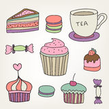 Set of vector cute colorful hand drawn sweets, Stock Photo
