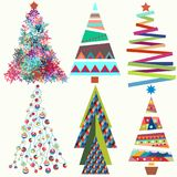 Set of vector cute funky  trees Stock Image