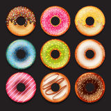 Set of vector cute sweet colorful donuts. Set of cute sweet colorful donuts Royalty Free Stock Photos