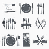 Set vector cutlery icons Stock Photography