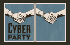 Set of vector Cyber party posters Royalty Free Stock Images