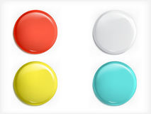 Set of vector 3D design elements, glossy icons, buttons, badge blue, red, yellow and white  Royalty Free Stock Photos