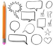 Set of VECTOR 3d drawn icons: check mark, star, heart, speech bubbles, outline drawings with pencil. Royalty Free Stock Image
