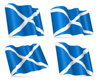 Set of vector 3d flags of Scotland Stock Photos