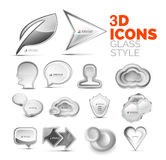 Set of vector 3d grey icons, universal elements. Set of vector grey icons, universal elements, white 3d glass and stone style Royalty Free Stock Photo