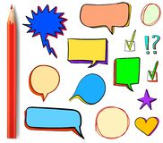 Set of VECTOR 3d icons: check mark, star, heart, speech bubbles, multicolor design elements with colored red pencil. Royalty Free Stock Photo