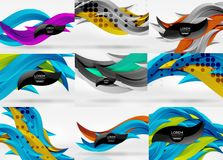 Set of vector 3d wave line abstract backgrounds. Geometric minimalist wavy lines in white space Stock Photo