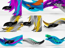 Set of vector 3d wave line abstract backgrounds. Geometric minimalist wavy lines in white space Stock Photography