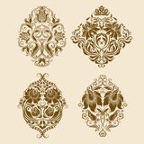 Set of vector damask ornaments. Royalty Free Stock Photos