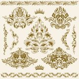 Set of vector damask ornaments. Stock Photos