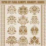 Set of vector damask ornaments. Stock Image