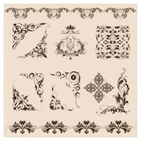 Set of vector damask ornaments. Set of vector damask  filigree ornaments Stock Photos
