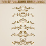 Set of vector damask ornaments. Royalty Free Stock Images