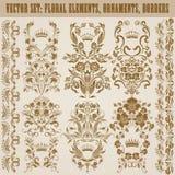 Set of vector damask ornaments. Royalty Free Stock Photos