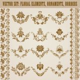 Set of vector damask ornaments. Royalty Free Stock Image
