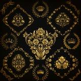 Set of vector damask ornaments. Set of gold damask ornaments. Floral element, ornate border, corner, crown, frame, laurel wreath for design. Page, web royal Royalty Free Stock Photography